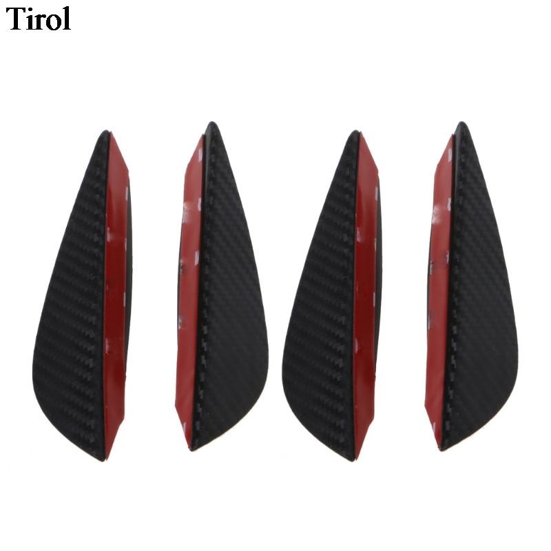 4X Universal High Quality Carbon Fiber Fit Front Bumper Lip Splitter Fins Body Spoiler Canard Valence Chin