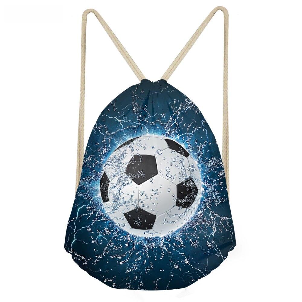 ThiKin 3D Ice Soccerly Ball Print Boys Drawstrings Bags Casual Multifunction Storage Packpack Softback Children School