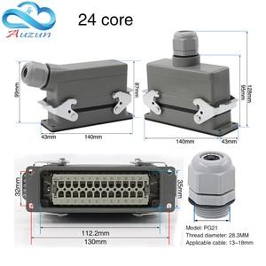 Image 5 - 헤비 듀티 커넥터 직사각형 hdc he 4/6/10/16/20/24/32/48 코어 산업용 방수 항공 플러그 16A 상단 및 측면