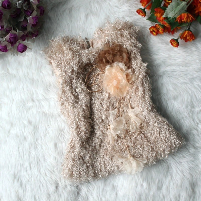EMS-DHL-Free-shipping-Kids-girls-coffee-vest-Faux-Fur-Vest-Waistcoat-winter-Children-clothes-Clothing