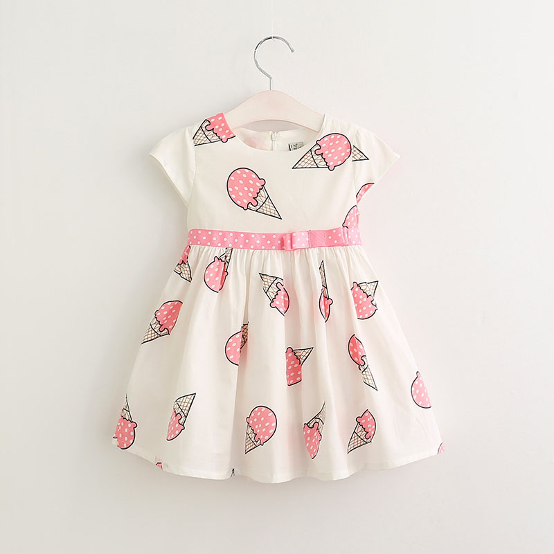 Fashion Summer Girls Dress 2017 New Baby Girl Costume Princess Ice Cream Printing Item Children Clothes