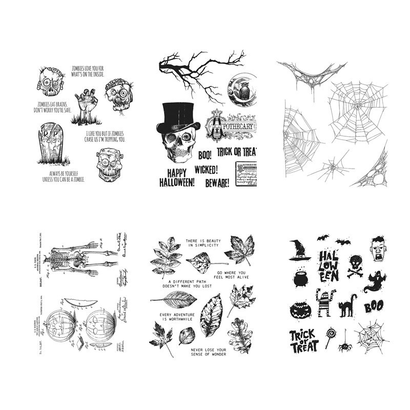DIY Stamp-Set Rubber Account-Craft-Set Scrapbooking Cling-Mounted Halloween for And Clear