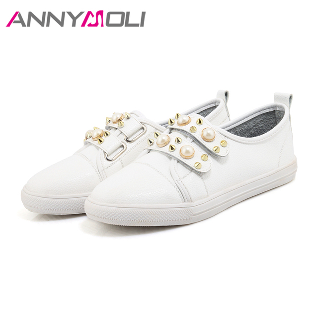 ANNYMOLI Shoes Women Flats Rivets Flat Shoes Round Toe Pearls Loafers 2018 Spring Casual School Shoes Red White chaussures femme 8