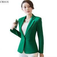 LXUNYI 2017 Herfst Vrouw Blazer Zwart Groen Koreaanse Slim Dames werk Pak Plus Size Pak Jas Womens Blazers Lange Mouwen Casual