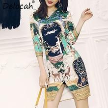 Delocah Autumn Women New Dress Runway Fashion Designer Three Quarter Sleeve Vintage Printed Mini Slim Office Lady Dresses