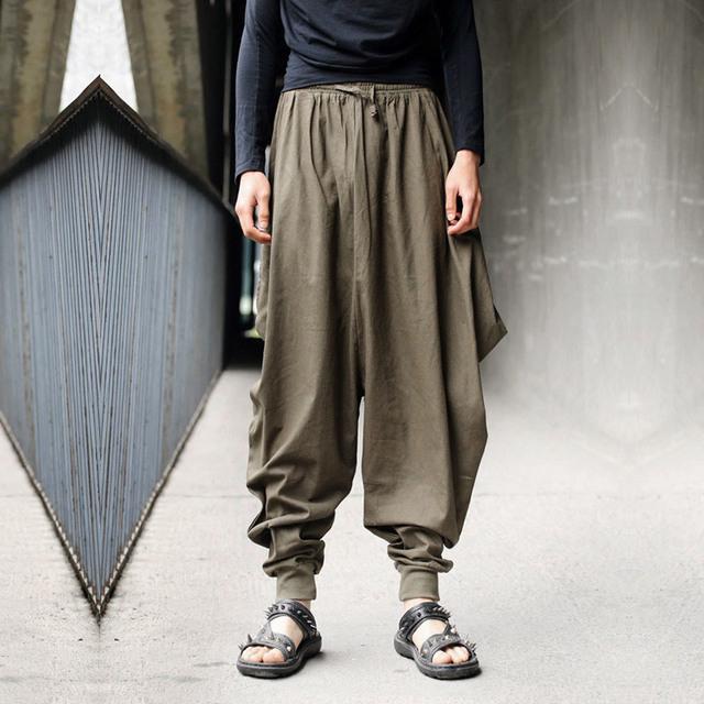 Nueva Moda de Verano Para Hombre Pantalones de Harén Hombres Retro Marca Diseñado Gota Entrepierna Pantalón Con Cordón Sueltos Pantalones De Lino Para Hombres