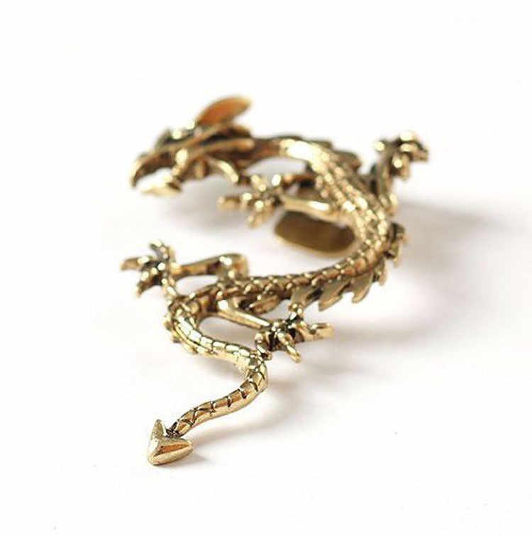 1 Piece אופנה טרנדי רוק פאנק סגנון יוניסקס ללא פירסינג עגיל שרוול אוזן הדרקון בצורת תכשיטים מגניבים