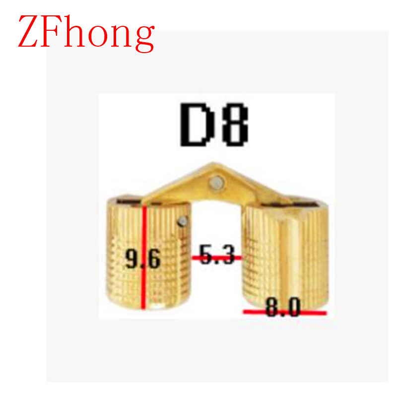4PCS 8mm Copper Barrel Hinges Cylindrical Hidden Door Cabinet Concealed Invisible Brass Hinges Mount Furniture Hardware 2pcs set stainless steel 90 degree self closing cabinet closet door hinges home roomfurniture hardware accessories supply