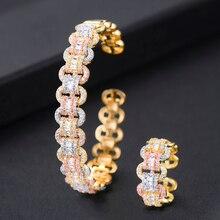 GODKI יוקרה אפריקאי צמיד טבעת סטי אופנה דובאי לבן כלה נשים חתונה brincos para כמו mulheres 2019