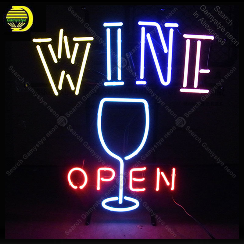 Enseigne au néon pour le vin ouvert et la coupe de vin néon art artisanat amélioration de la maison magasin de vrais Tubes de verre blanc conseil Bar Accesaries