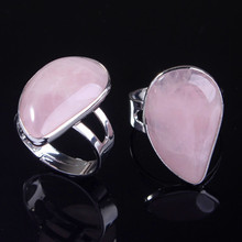 FYJS Unique Silver Plated Resizable Water Drop Natural Rose Pink Quartz Ring For Women Jewelry