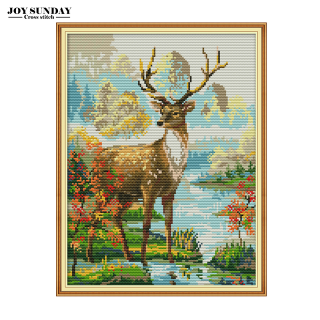 Joy Sunday Chinese Embroidery Needlework DIY DMC Cross Stitch Animals Stag Sets 14ct 11ct Cross Counted Printed Canvas Painting