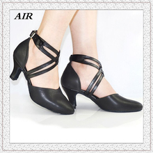 Women Latin Dance Shoes PU Leather Soft Sole Black Closed Toe Salsa Shoes Ballroom Dance Shoes