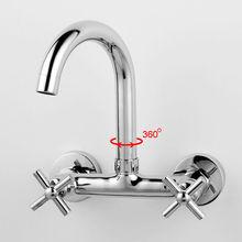 Двухместный ручки кухня смеситель настенный латунь медь хромированная ванная комната кухонная мойка горячей холодной воды