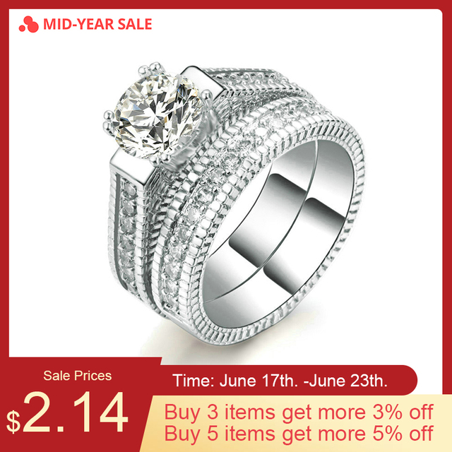 ZHOUYANG Wedding Ring Set For Women Luxury Cubic Zirconia 2 Rounds Bijoux Silver Color Fashion Jewelry Chirstmas Gift ZYR606