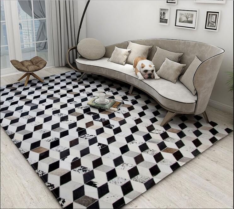 Tapis de peau de vache de luxe tapis de fourrure de Style Plaid tapis de peau de vache cousu grande taille tapis de fourrure naturelle pour décoration de salon