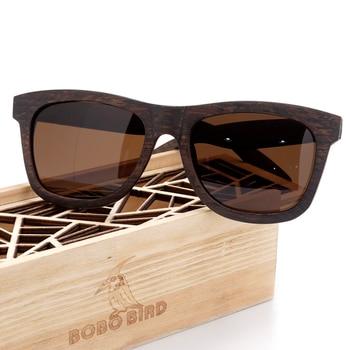 BOBO BIRD Original Wooden Men Sunglasses Casual Polarized Women Sun Glasses Black Framed With Gift Box gafas de sol mujer 6