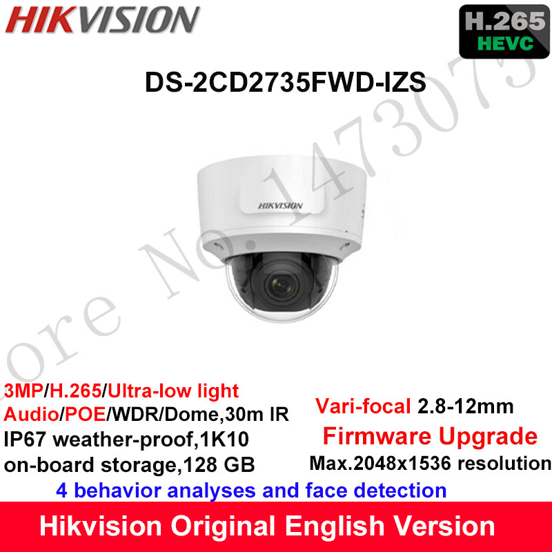 Hikvision 3MP Ultra-low light Vari-focal CCTV IP Camera H.265 DS-2CD2735FWD-IZS Dome Security Camera 2.8-12mm face detection hik ip camera ds 2cd4026fwd ap ultra low light 128gb onvif rj45 intrusion detection face detection recognition