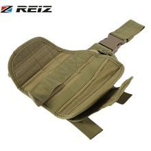 REIZ Men Outdoor Hunting Knee Pads Airsoft Military Tactical Support Adjustable Practical Puttee Bag Thigh Leg Holster Pouch