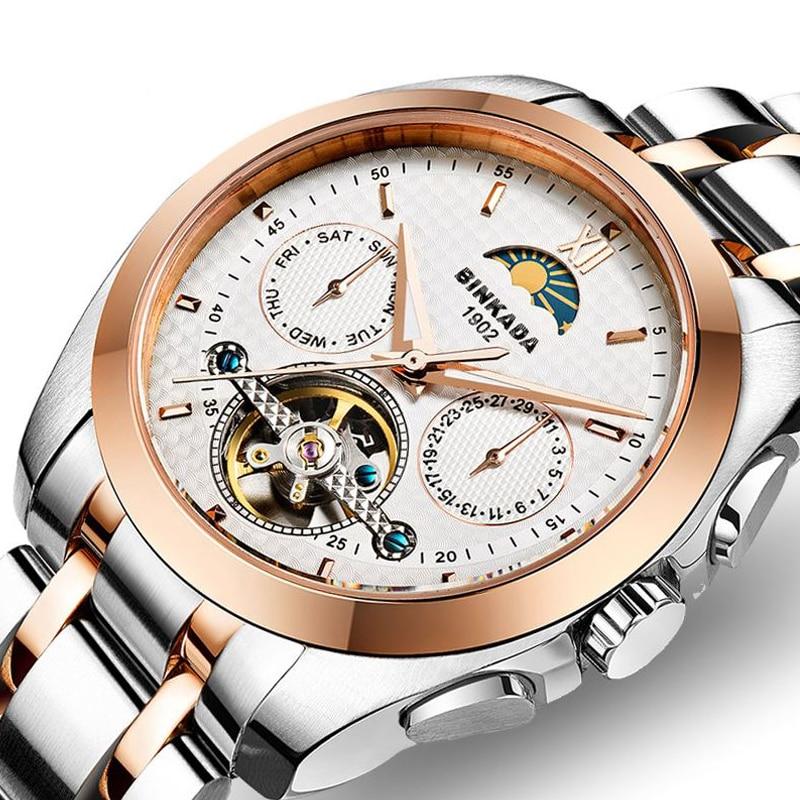 Homens automáticos relógios mecânicos oco impermeável business - Relógios masculinos