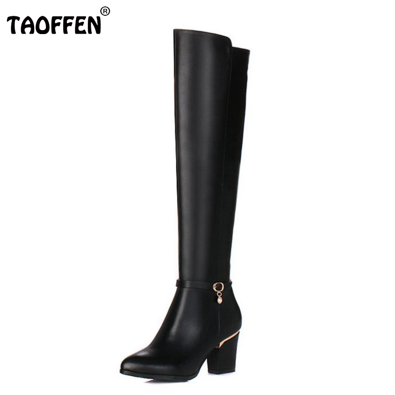 Women Genuine Real Leather Over The Knee Boots Winter Boots Sexy Square Heel Fashion Pointed Toe Women Boots Shoes Size 34-39 fashion slim rivets thick heel pointed toe zip winter snow boots genuine leather stretch fabric over the knee boots women boots