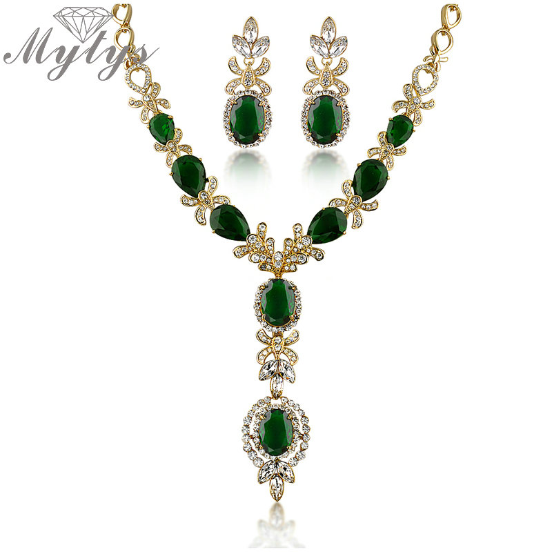 Mytys High Quality Crystal Jewelry Sets Flower Design Zircon GP Earrings and Necklace Sets N366 a suit of tassel faux zircon necklace and earrings