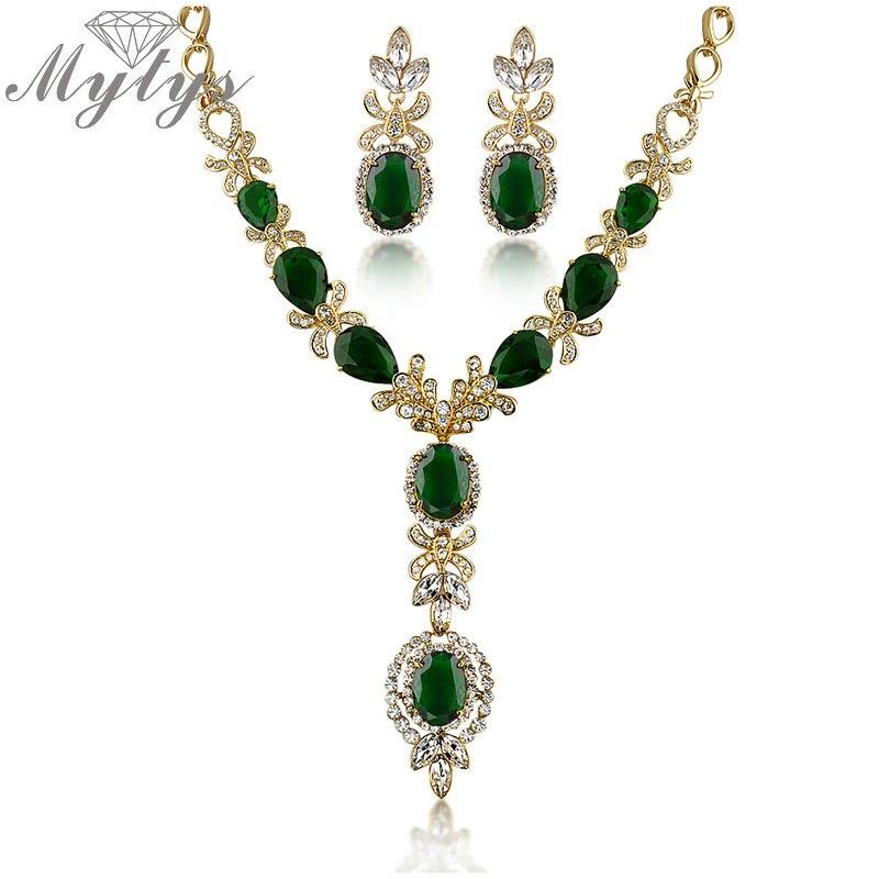 Mytys ensembles de bijoux en cristal de haute qualité conception de fleurs Zircon GP boucles d'oreilles et ensembles de collier N366