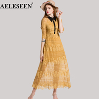 Fairy Lace Women Dresses Summer Half Sleeve Top Fashion 2018 A Line Yellow Black Turn Down