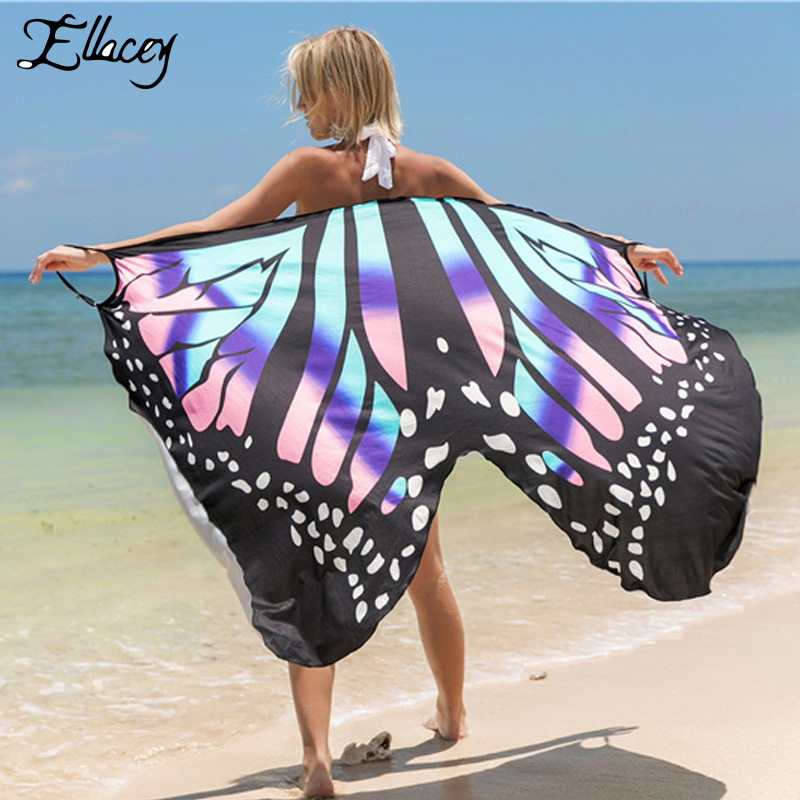 Summer 2019 Butterfly Sexy Shawl Beach Sundress Resort Skirt   Wrap   Strappy Printed Dress Sunscreen Beachwear Poncho Women Pareo