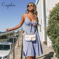 CUPSHE Sexy Frauen Blau Gingham Kurze Jurken Zomer 2019 Sommer Party Strand Kleider Spaghetti-trägern Tie-Front Vestidos de fiesta