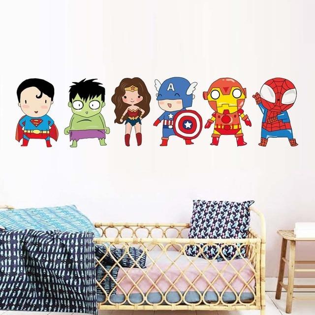 Superhero Wall Stickers Kids Boy Bedroom Decor Batman Superman Vinyl Art Wall  Decals For Kids Room Cartoon Superheros Wallpaper
