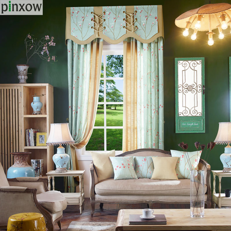 Green Curtains Bedroom Custom Made Window Panels Pastoral Curtains Living  Room Red Flower Fabric Drapes Luxury
