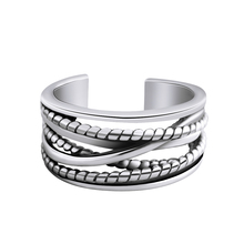Antique Silver Multilayer Cross Twisted Opening Rings For Women Men 925 Sterling Silver Finger Ring Fashion Ring Jewelry retro vintage 925 sterling silver twisted open finger ring for women antique silver flower carving rings sterling silver jewelr
