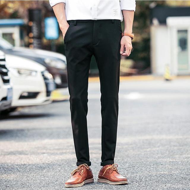 Sosial Orang Kantor Dress Pantalones Setelan Formal Pantalon De Vestir Hombre Pria Musim Panas Slim Fit Kasual Celana Korea Celana Elastic Trousers Dress Pantspants Slim Aliexpress