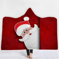 Merry Christmas Hooded Towel Flannel Bath Towels With Hood Adult Wearable Beach Wrap Blanket 1pc