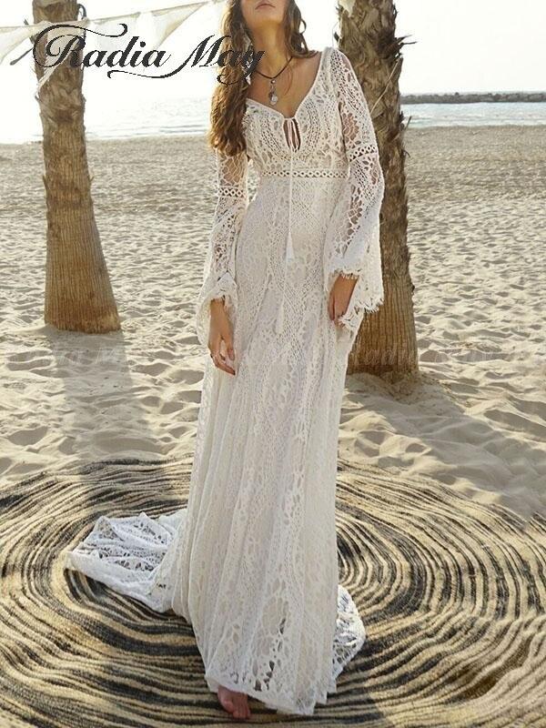 2019 Vintage Ivory Bohemian Lace Beach Wedding Dress Long Sleeve V Neck Mermaid Boho Bridal Gowns