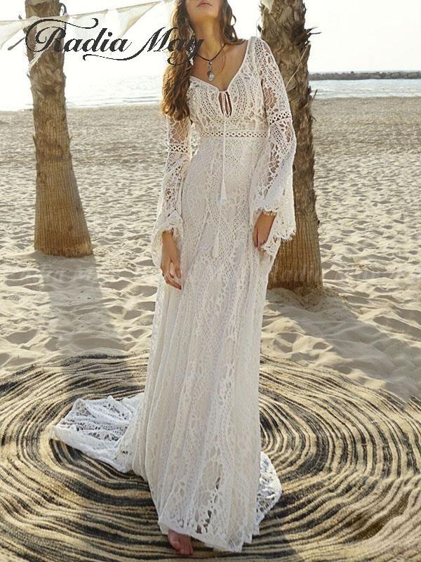 2019 Vintage Ivory Bohemian Lace Beach Wedding Dress Long Sleeve V-Neck Mermaid Boho Bridal Gowns Country Hippie Wedding Dresses