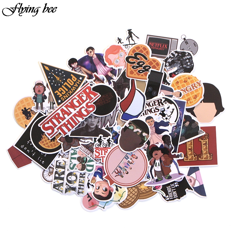 Flyingbee 66 pcs Stranger Things Sticker Anime Stickers for DIY Luggage Laptop Skateboard Car Motorcycle Bicycle Stickers X0005-in Stickers from Consumer Electronics
