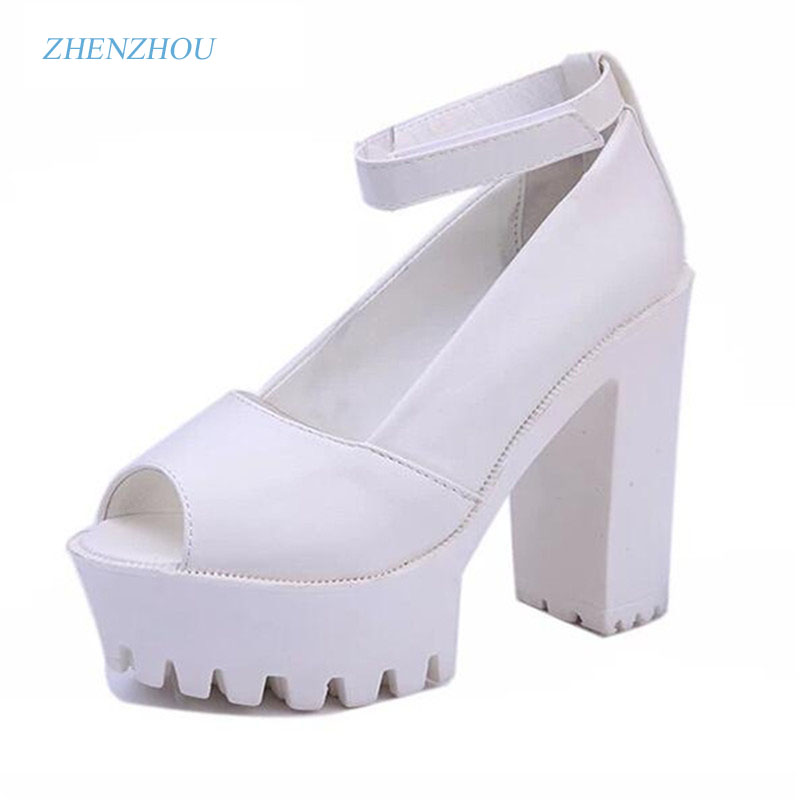Free shipping 2017 summer style Sexy Open Toe High Heel Sandals Thick Heel Sandals Hasp Fashion Platform Shoes Women High shoes [classic]2016 summer style women s sexy platform waterproof fish toe high heel square heel heel 11cm sandals pumps lx107
