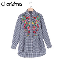 CharMma Vintage Floral Embroidery Blouse Shirt Women Plaid Casual Tops 2017 Spring Autumn Long Sleeve Blouse