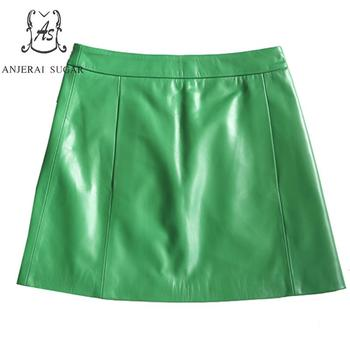 Autumn Genuine leather skirts women sexy Emerald green Package hip OL office sheepskin real leather female short A line skirt