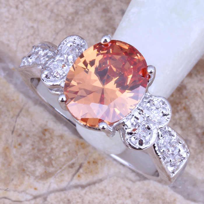 เสน่ห์สีน้ำตาลสีขาวM Organite CZชุบเงินประทับ925แหวนแฟชั่นขนาด6/7/8/9 R0088