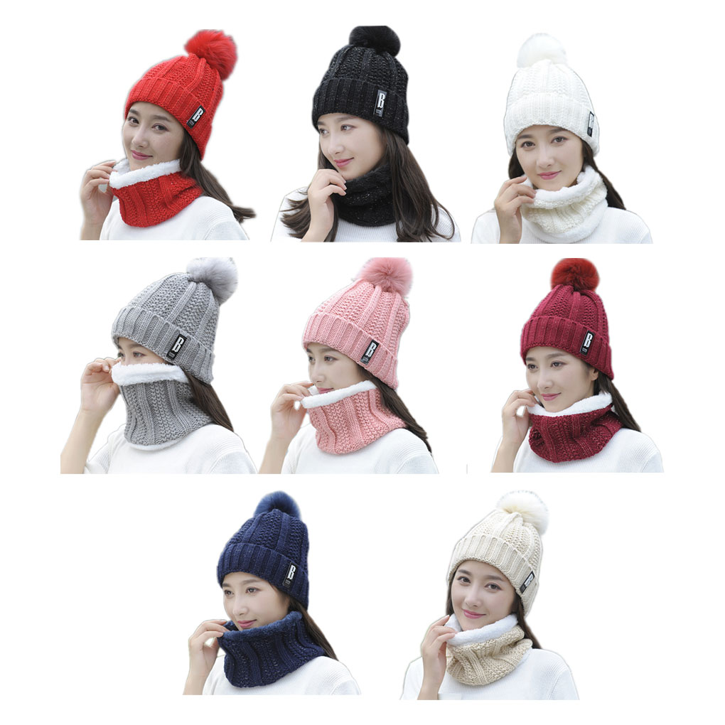 Women Braided Beanies Hat Kit Girl Warm Cap Scarf Set Crochet Skull Supplies Granny Winter Accessory