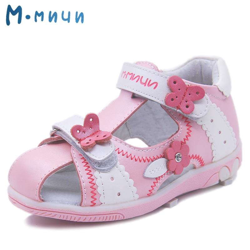 Mmnun Genuine Leather Girls Sandals Flower Summer Kids Shoes Toddler Sandals Closed Toe Sandals Kids Sandals for Little Girls
