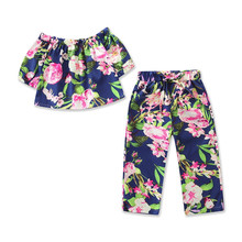 Summer Infant Toddler Girl Floral Print Top Pants Beach Clothing Set