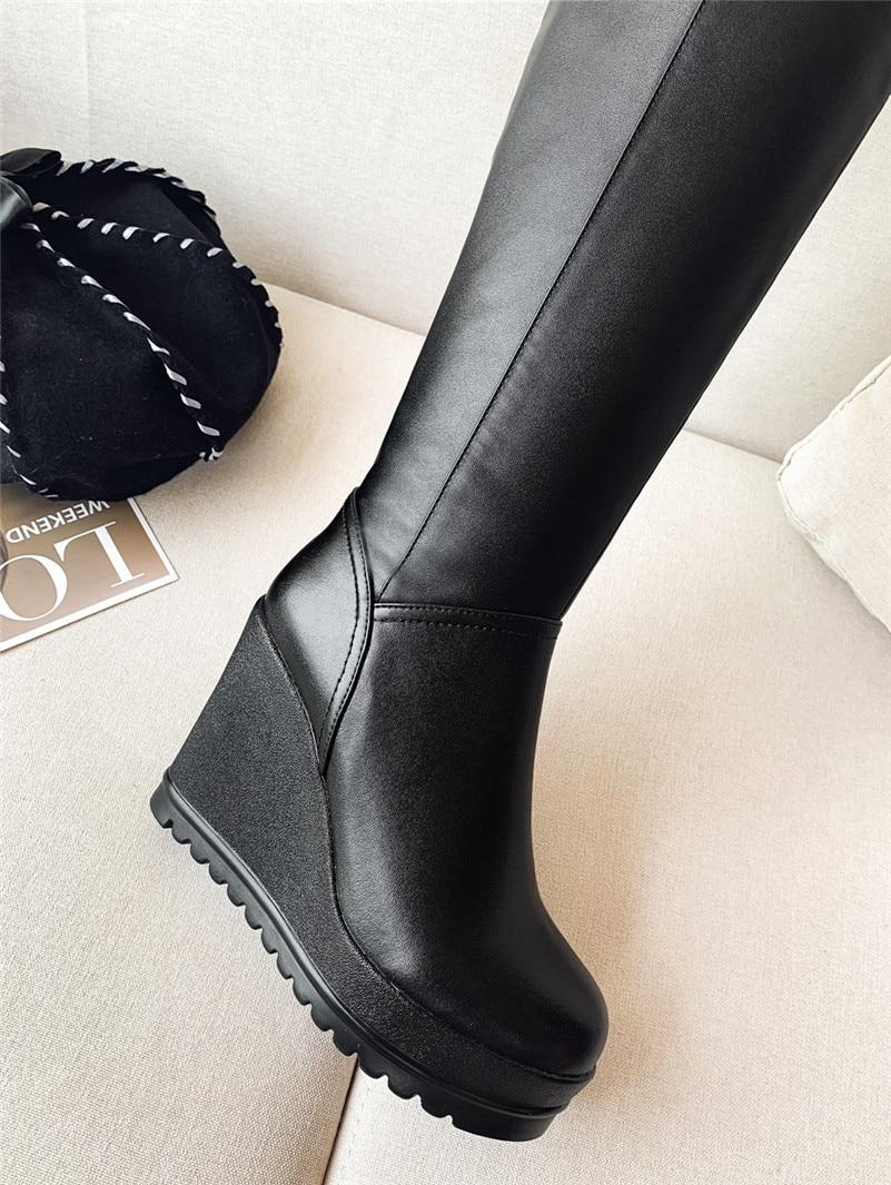 Großhandel ANNYMOLI Winter Overknee Stiefel Damen Echtes Leder Plateau Keilabsatz Overknee Stiefel Zipper Super High Heel Schuhe Lady Von Vintagered,