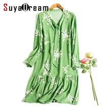 Women dress 100% Натуральный шелк Цветочный шелковый шифон dress Оборками подол 2017 Весной Зеленый
