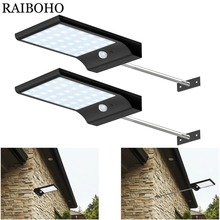 2PCS LED Solar Light 36led 450LM PIR Motion Sensor Powered Street Lamps Garden Outdoor Waterproof Wall Lamp With Mounting Pole