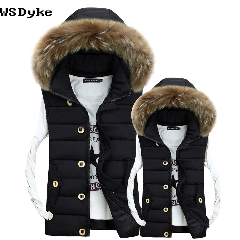 2017 Autumn New Casual Fur Collar Winter Jacket Coat Good Quality Hooded Man Gilet