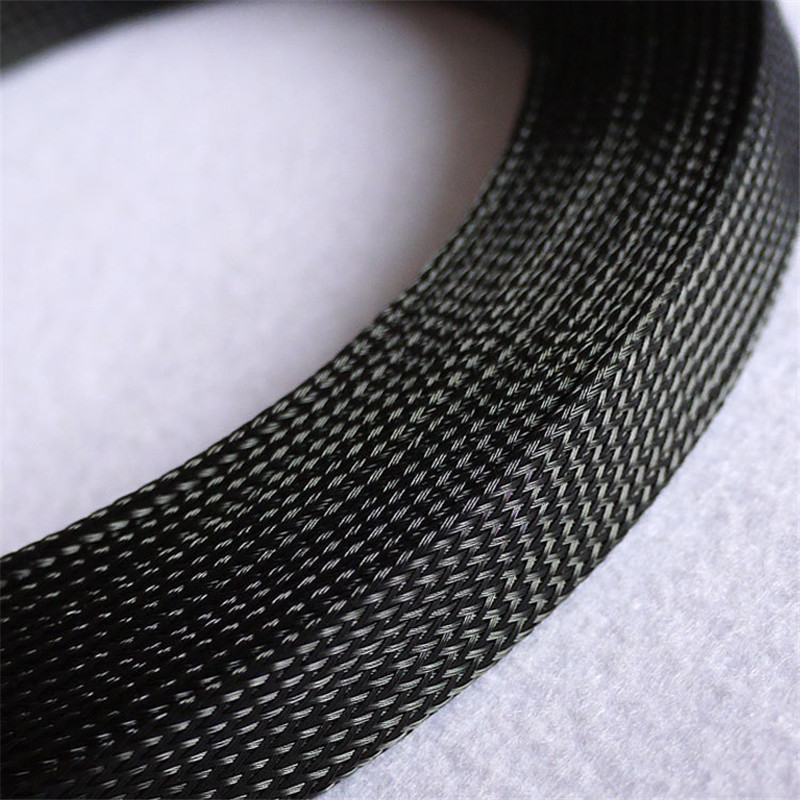 Black - High quality 14mm Braided PET Expandable Sleeving High Density Sheathing Plaited Cable Sleeves 1M